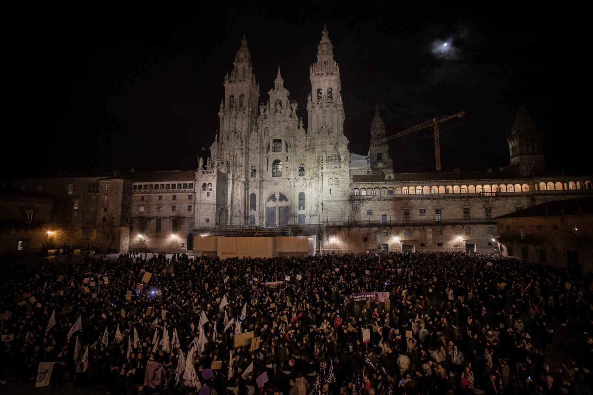 Marcha feminista 8M en Santiago de Compostela.