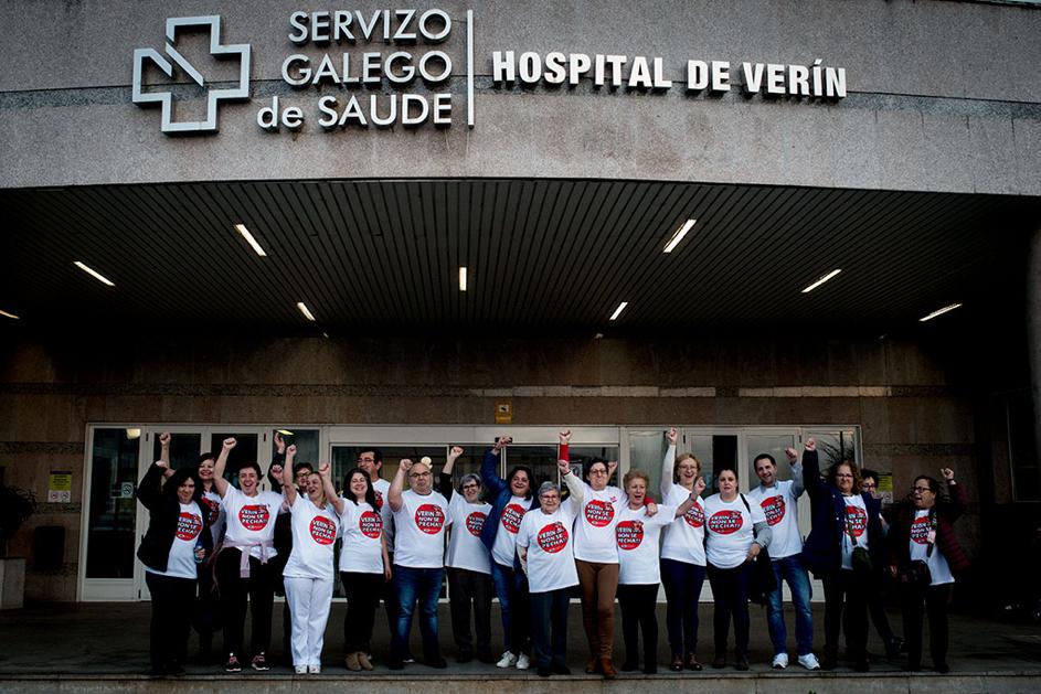 Manifestación contra o peche da sala de partos en Verín. Fotos: Brais Lorenzo