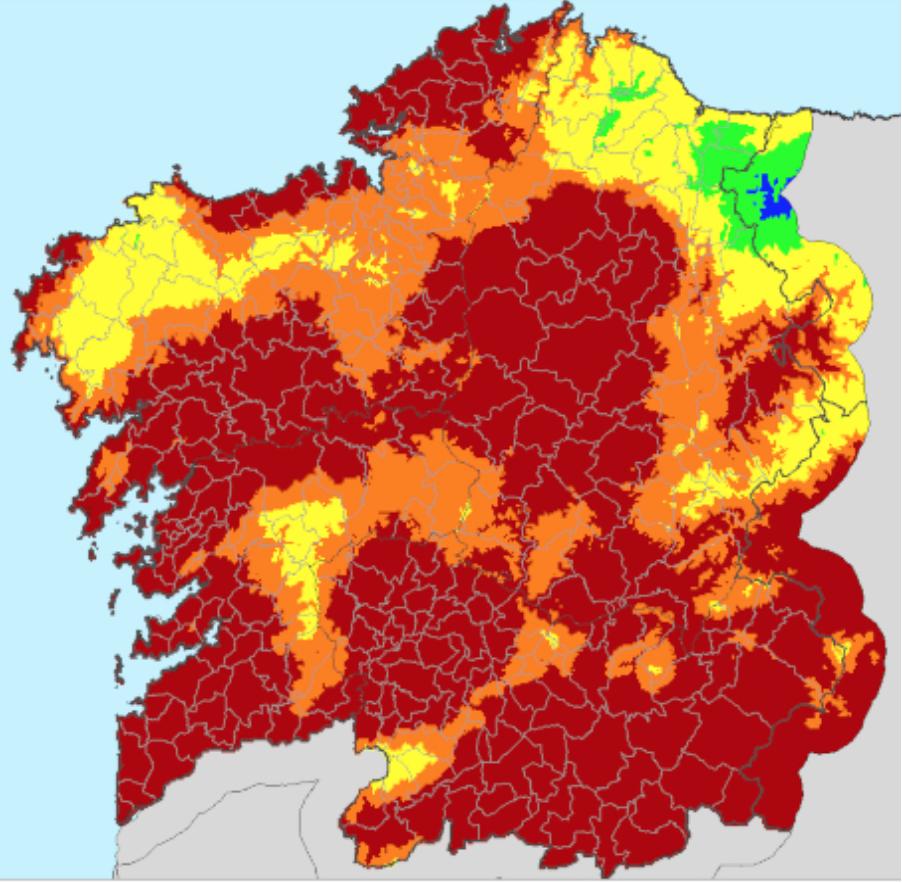Índice diario de riesgo de incendios. Fonte: Consellería do Medio Rural.
